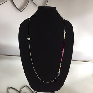 Silver Colorful Beaded Chain Long Necklace